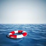 τρισδιάστατος σημαντήρας ζωής και μπλε ωκεανός με το μπλε ουρανό Στοκ Φωτογραφία