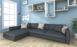 τρισδιάστατος συμπαθητικός καναπές απόδοσης στο μικρό μπλε καθιστικό Στοκ Εικόνα