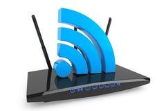 τρισδιάστατος σύγχρονος δρομολογητής WiFi με το σημάδι WiFi Στοκ Φωτογραφία
