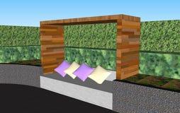 τρισδιάστατος τοίχος καθισμάτων με την ξύλινη στέγη Στοκ Εικόνα