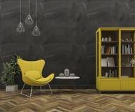 τρισδιάστατος τοίχος σοφιτών απόδοσης με την όμορφα κίτρινα πολυθρόνα και τα έπιπλα Στοκ εικόνα με δικαίωμα ελεύθερης χρήσης