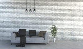 τρισδιάστατος τουβλότοιχος ύφους απόδοσης ελάχιστος με τον όμορφο καναπέ Στοκ εικόνες με δικαίωμα ελεύθερης χρήσης