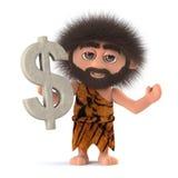 τρισδιάστατος τρελλός τριχωτός caveman έχει το σύμβολο αμερικανικών δολαρίων ελεύθερη απεικόνιση δικαιώματος