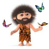 τρισδιάστατος τρελλός τριχωτός caveman που περιβάλλεται από τις πεταλούδες απεικόνιση αποθεμάτων