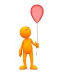 τρισδιάστατος τύπος: Άτομο που κρατά ένα μπαλόνι Στοκ Φωτογραφίες