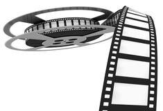 τρισδιάστατος: Τύλιγμα ταινιών κινηματογράφων μακριά του εξελίκτρου Στοκ Φωτογραφίες
