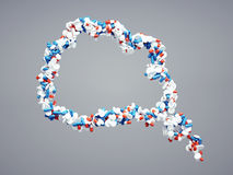 τρισδιάστατος υψηλός - ποιοτικά χάπια που σκέφτονται το σύμβολο φυσαλίδων απεικόνιση αποθεμάτων