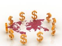 τρισδιάστατος χάρτης στο δολάριο Στοκ Εικόνα