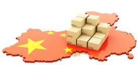 τρισδιάστατος χάρτης της Κίνας με τα κουτιά από χαρτόνι διανυσματική απεικόνιση