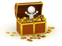 τρισδιάστατος χαρακτήρας μέσα στο στήθος θησαυρών με τα χρυσά νομίσματα Στοκ Εικόνες