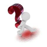 τρισδιάστατος χαρακτήρας με ένα μεγάλο κόκκινο ερωτηματικό Στοκ Φωτογραφία