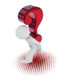 τρισδιάστατος χαρακτήρας με ένα μεγάλο κόκκινο ερωτηματικό Στοκ Εικόνες