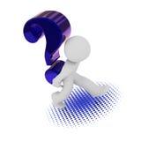 τρισδιάστατος χαρακτήρας με ένα μεγάλο μπλε ερωτηματικό Στοκ εικόνες με δικαίωμα ελεύθερης χρήσης