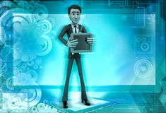 τρισδιάστατος χαρακτήρας με απεικόνιση τηλεοπτικών τη διαθέσιμη χεριών Στοκ Εικόνες