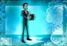 τρισδιάστατος χαρακτήρας με απεικόνιση τηλεοπτικών τη διαθέσιμη χεριών Στοκ Φωτογραφίες
