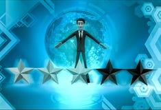τρισδιάστατος χαρακτήρας με την απεικόνιση πέντε αστεριών Στοκ Εικόνες