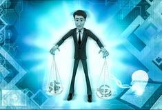 τρισδιάστατος χαρακτήρας που ισορροπεί τη διαφορετική απεικόνιση νομισμάτων τ Στοκ φωτογραφία με δικαίωμα ελεύθερης χρήσης
