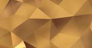 τρισδιάστατος χρυσός αφηρημένος γεωμετρικός βρόχος υποβάθρου κινήσεων επιφάνειας πολυγώνων 4k απεικόνιση αποθεμάτων