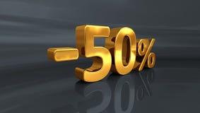 τρισδιάστατος χρυσός -50%, μείον το σημάδι έκπτωσης πενήντα τοις εκατό Στοκ φωτογραφία με δικαίωμα ελεύθερης χρήσης