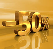 τρισδιάστατος χρυσός -50%, μείον το σημάδι έκπτωσης πενήντα τοις εκατό Στοκ Φωτογραφία