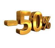 τρισδιάστατος χρυσός -50%, μείον το σημάδι έκπτωσης πενήντα τοις εκατό Στοκ Εικόνες