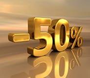 τρισδιάστατος χρυσός -50%, μείον το σημάδι έκπτωσης πενήντα τοις εκατό Στοκ Φωτογραφίες