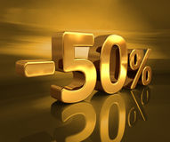 τρισδιάστατος χρυσός -50%, μείον το σημάδι έκπτωσης πενήντα τοις εκατό Στοκ εικόνα με δικαίωμα ελεύθερης χρήσης
