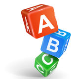 τρισδιάστατος χωρίστε σε τετράγωνα την απεικόνιση με τη λέξη ABC ελεύθερη απεικόνιση δικαιώματος