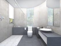 τρισδιάστατος χώρος ανάπαυσης σχεδίου απόδοσης όμορφος με το φραγμό γυαλιού Στοκ Εικόνα