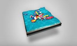 τρισδιάστατος ψηφιακός χάρτης της Ευρώπης που παρασύρει στα τρεμάμενα νερά πάνω από το τρισδιάστατο πιάτο - γραφική έννοια Στοκ φωτογραφία με δικαίωμα ελεύθερης χρήσης