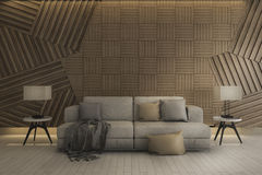 τρισδιάστατος όμορφος άσπρος καθαρός καναπές απόδοσης με το λαμπτήρα και τον ξύλινο τοίχο Στοκ Φωτογραφία