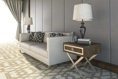 τρισδιάστατος όμορφος άσπρος καναπές απόδοσης με το συμπαθητικό τάπητα στο καθιστικό Στοκ Εικόνες