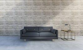 τρισδιάστατος όμορφος μπλε καναπές απόδοσης μπροστά από το ξύλινο υπόβαθρο Στοκ φωτογραφίες με δικαίωμα ελεύθερης χρήσης