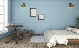 τρισδιάστατος όμορφος μπλε τοίχος απόδοσης εκλεκτής ποιότητας κρεβατοκάμαρα Στοκ Φωτογραφίες