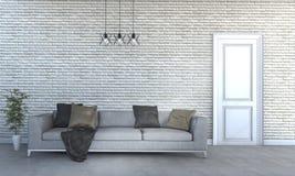 τρισδιάστατος όμορφος τεράστιος καναπές απόδοσης στο φωτεινό καθιστικό Στοκ Φωτογραφίες
