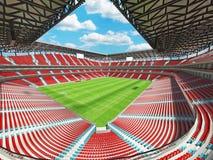 τρισδιάστατος δώστε ενός γηπέδου ποδοσφαίρου ποδοσφαίρου μεγάλης περιεκτικότητας με τις κόκκινες καρέκλες Στοκ Φωτογραφίες