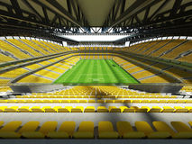 τρισδιάστατος δώστε ενός σταδίου ποδόσφαιρο-ποδοσφαίρου μεγάλης περιεκτικότητας με μια ανοικτή στέγη και κίτρινα καθίσματα Στοκ Εικόνες