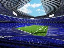 τρισδιάστατος δώστε ενός στρογγυλού γηπέδου ποδοσφαίρου με τα μπλε καθίσματα για τους ανεμιστήρες εκατοντάδων χιλιάδες Στοκ Εικόνες