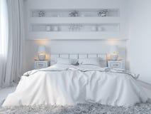 τρισδιάστατος δώστε της κρεβατοκάμαρας το εσωτερικό σχέδιο σε ένα σύγχρονο ύφος Στοκ εικόνες με δικαίωμα ελεύθερης χρήσης