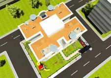 τρισδιάστατος δώστε της οικοδόμησης του τοπ σχεδίου προσόψεων Στοκ Εικόνες