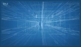 τρισδιάστατος δώστε της οικοδόμησης wireframe της δομής Διάνυσμα αρχιτεκτονικό διανυσματική απεικόνιση