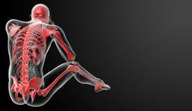 τρισδιάστατος δώστε τον κόκκινο σκελετό Στοκ Φωτογραφία
