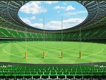 τρισδιάστατος δώστε τους στρογγυλούς αυστραλιανούς κανόνες γήπεδο ποδοσφαίρου με τις πράσινες καρέκλες Στοκ φωτογραφία με δικαίωμα ελεύθερης χρήσης
