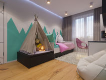 τρισδιάστατος δώστε του εσωτερικού σχεδίου το δωμάτιο παιδιών ` s Στοκ Εικόνα