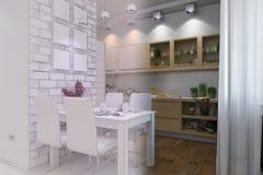 τρισδιάστατος δώστε του καθιστικού με το εσωτερικό σχέδιο κουζινών σε ένα moder Στοκ Εικόνες