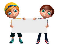 τρισδιάστατος δώστε του μικρού παιδιού με το λευκό πίνακα Στοκ Φωτογραφία