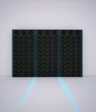 τρισδιάστατος δώστε του ραφιού κεντρικών υπολογιστών με τη οπτική ίνα Στοκ φωτογραφίες με δικαίωμα ελεύθερης χρήσης
