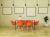 τρισδιάστατος δώστε του όμορφου να δειπνήσει πίνακα με τις πορτοκαλιές καρέκλες Στοκ Εικόνες