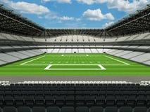 τρισδιάστατος δώστε του όμορφου σύγχρονου μεγάλου σταδίου αμερικανικού ποδοσφαίρου με τα άσπρα καθίσματα Στοκ φωτογραφία με δικαίωμα ελεύθερης χρήσης