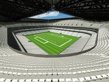 τρισδιάστατος δώστε του όμορφου σύγχρονου μεγάλου σταδίου αμερικανικού ποδοσφαίρου με τα άσπρα καθίσματα στοκ εικόνες με δικαίωμα ελεύθερης χρήσης